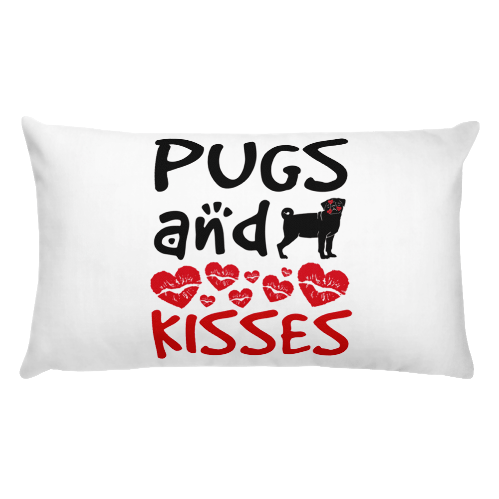 Pugs Kisses Pug Lovers Valentines Gift Pillow